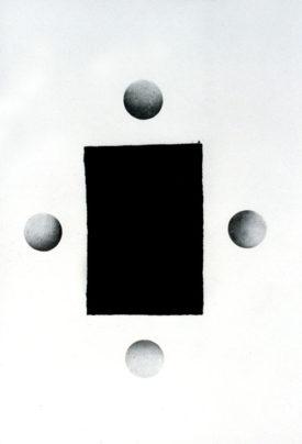 Archetype II, Pencil and velvet on paper, 70 x 100 cm, 1996