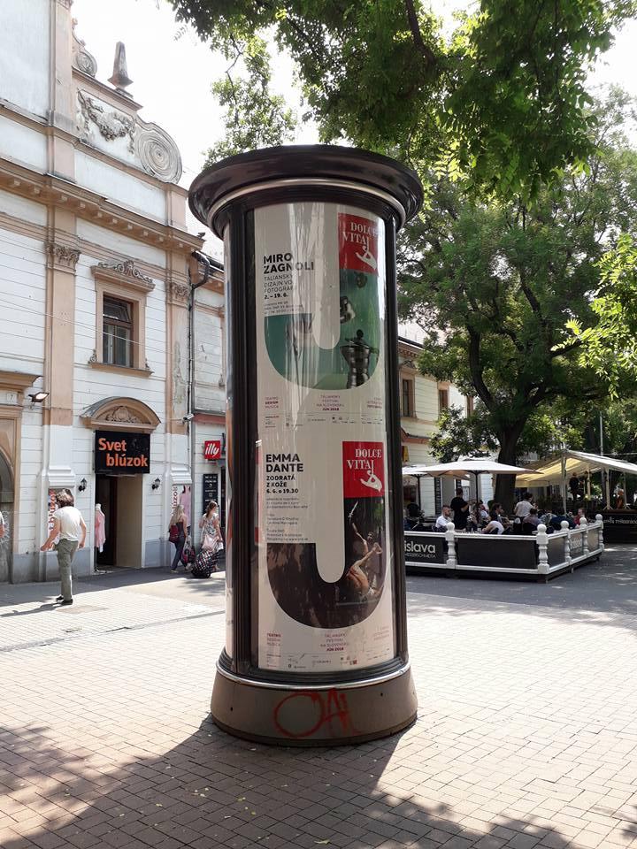 Dolce vitaj 2018,  Citylights posters in Bratislava
