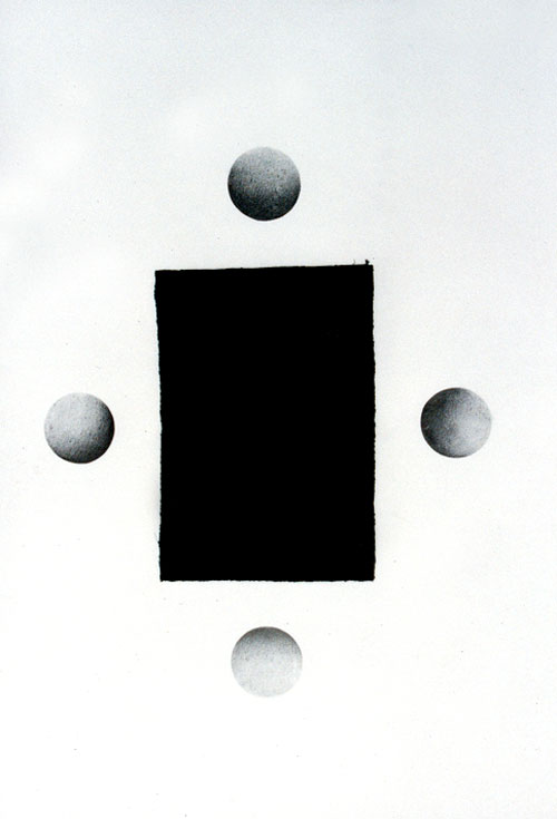 Archetype II, Pencil and velvet on paper, 70 x 100 cm, 1996