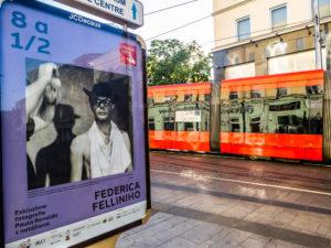 81/2 of Federico Fellini, exhibition in streets of Bratislava, 50 posters