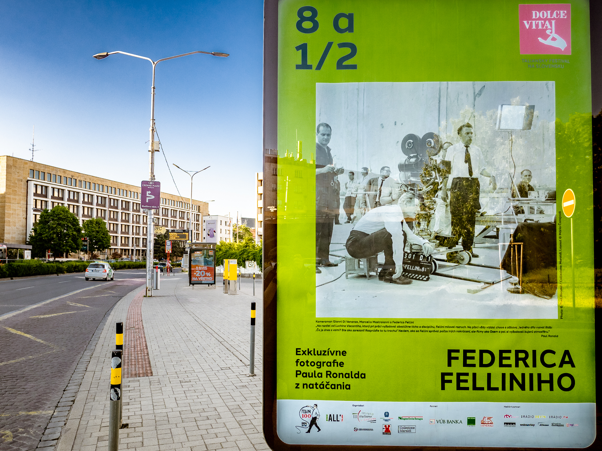81/2 of Federico Fellini, exhibition in streets of Bratislava, 50 posters